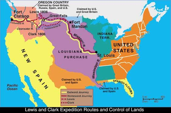 Follow the Lewis and Clark trail from start to finish. Lewis & Clark expedition 1803. They discovered the Pacific Ocean.