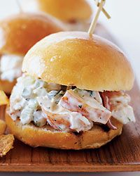 Lobster Sliders Recipe from Food & Wine - These lush, miniature takes on classic New England lobster rolls are a staple of this sleek South End lounge and restaurant, one of the few places in Boston that serves great food late at night.