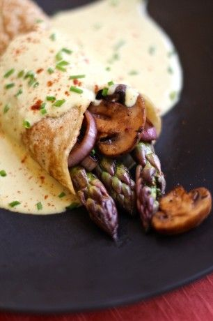 Savory Asparagus Crepes with Easy Vegan Hollandaise Sauce ( try using almond flour and soy milk for crepes for GF and paleo)