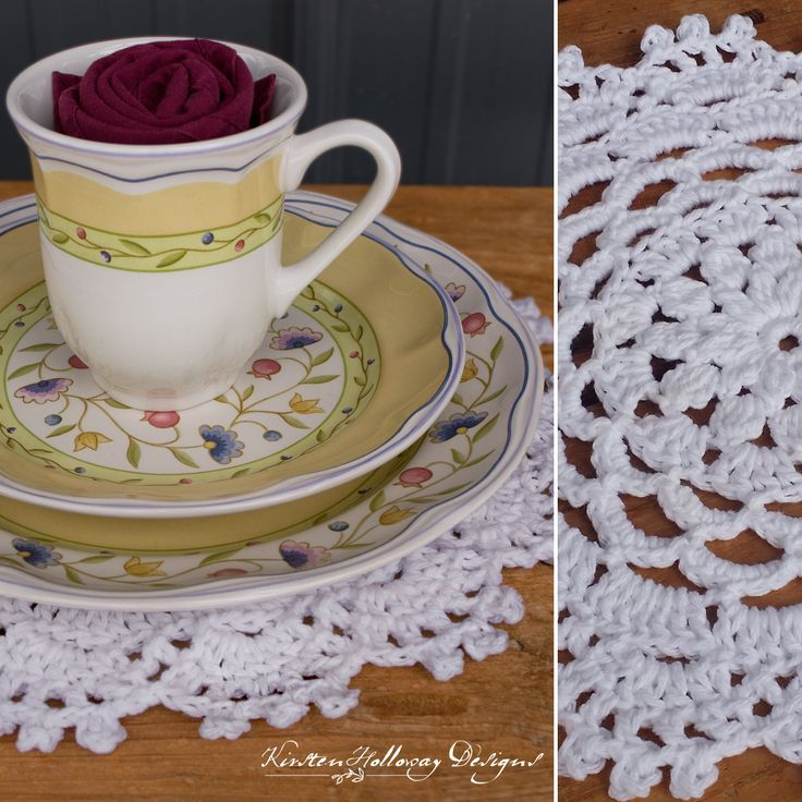 Crochet your own placemats for Easter dinner, Graduations, Weddings, Anniversaries, tea parties, and receptions with this simple, free placemat/doily pattern. Each Garden Party placemat uses less than one ball of Lily Sugar'n Cream, and works up fairly qu