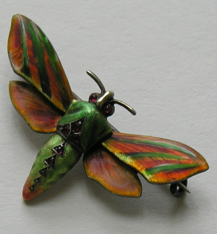 Meyle and Mayer Enameled Moth 900 Silver: