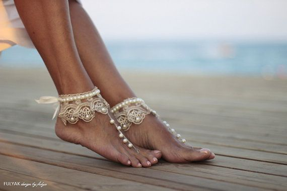 Dance of the pearls with champagne frilly guipure beach wedding barefoot sandals, bangle, wedding anklet,nude shoes,boho sandal,cuff