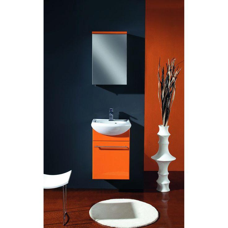 "Eviva Venti 18"" Wall Mount Orange Modern Bathroom Vanity with White Integrated Porcelain Sink"