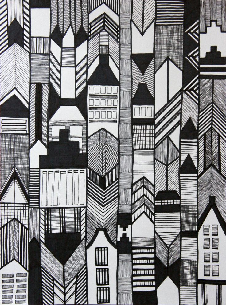 Lijntekening van een abstracte stad. Hoekige vormen, dunne en dikke lijnen en donkere vlakken brengen de stad in beeld. www.capiteinvicky.nl