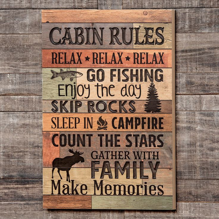 Cabin Rules Carved Wood Wall Art
