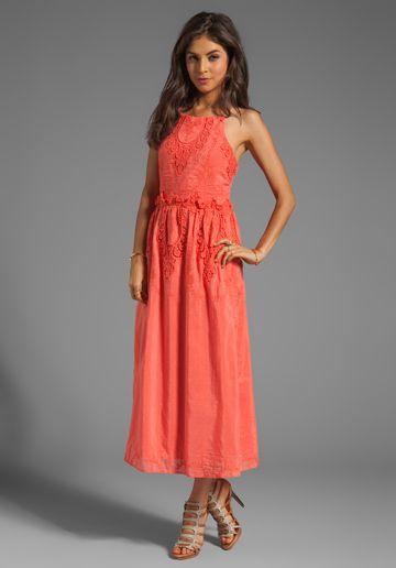 Melon color maxi dress