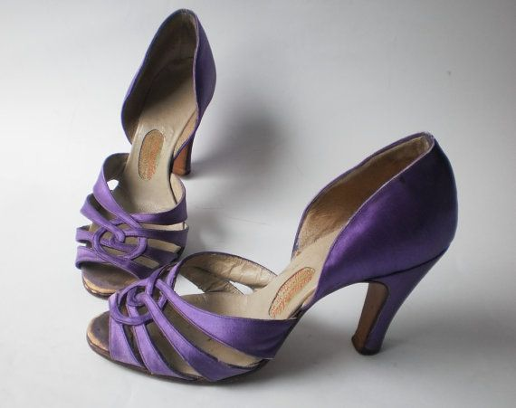 Original heels made of leather and purple satin. Nice strappy design at  front.