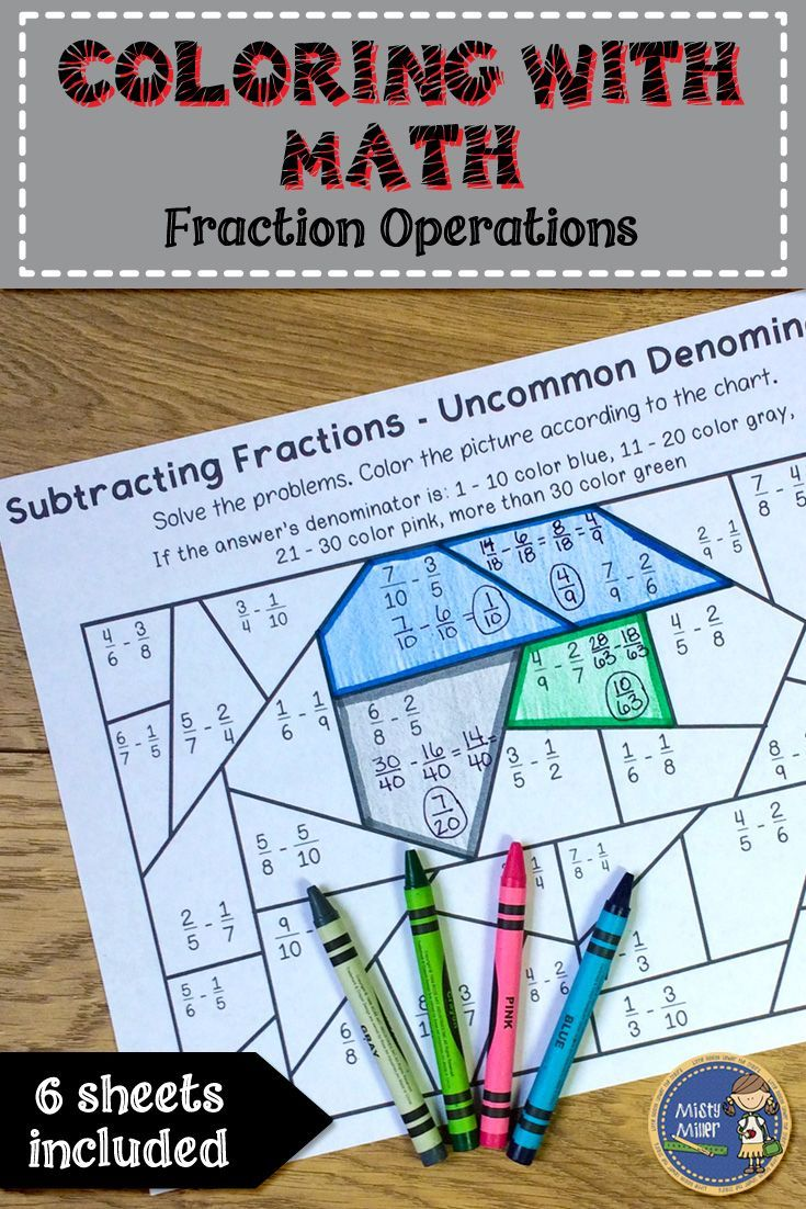 Fraction Operations Color with Math - Students solve problems by adding (with common and uncommon denominators), subtracting (with common and uncommon denominators), multiplying, and dividing fractions. Then they use the code to color the picture. $ gr 5-7