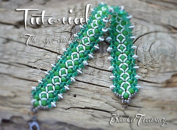 "Beaded bracelet pattern with O-beads and SuperDuo - ""The eye-catching"" / BEADING TUTORIAL ONLY"