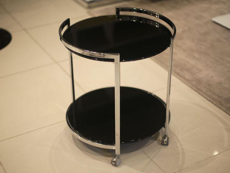 Bontempi Casa Round Bar Trolley - Black Glass - Chaplins