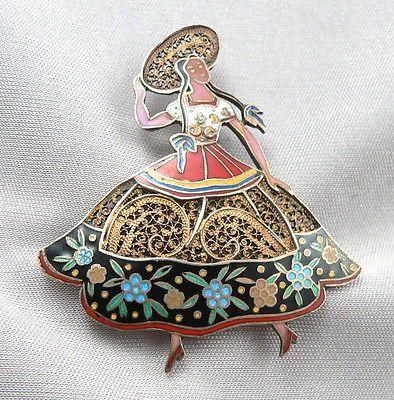 Vintage TOPAZIO Portugal SILVER Vermeil ENAMEL PIN BROOCH Lady Dancer Hat Flower