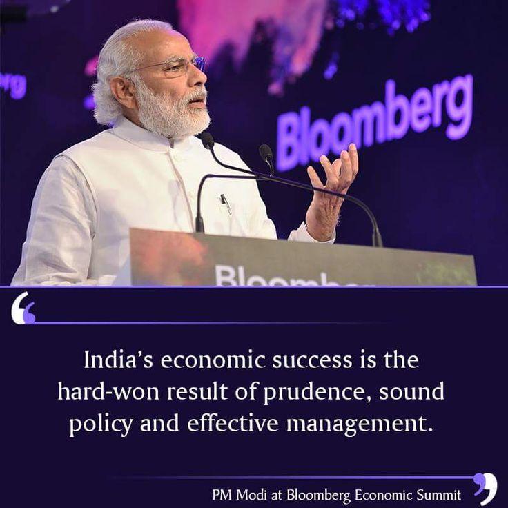 प्रधानमन्त्री श्री नरेंदर भाई मोदी जी ने ब्लूमबर्ग इकोनोमिक समिट में कहा भारत की मजबूत अर्थव्यवस्था अच्छी किस्मत की वजह से नहीं बल्कि सरकार की सोच,विज़न और कठिन परिश्रम का परिणाम है।#NarendraModi #TransformingIndia-2015 https://www.facebook.com/AshokGoelBJP/posts/1109708459050351