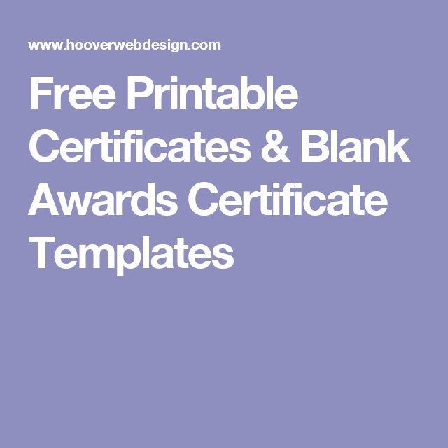 Free Printable Certificates & Blank Awards Certificate Templates