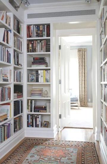 bookcases in a hallway/pass-thru