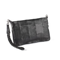 GIA black  Small clutch sewn in a trendy patchwork pattern of the softest lamb skin.  So incredibly stylish - prepare to be the envy of the party!    Price: 349 DKK/ 49 €