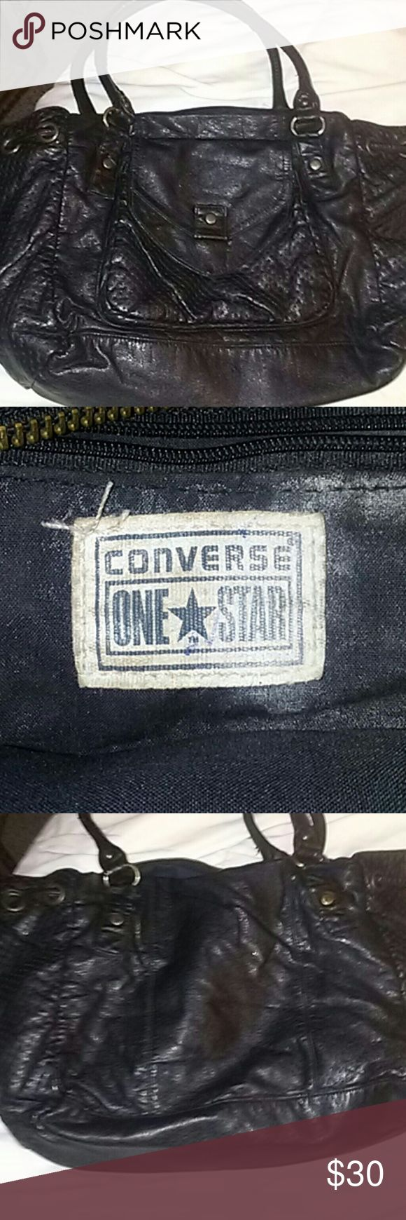 """CHIK """"CONVERSE ONE STAR"""" PURSE AUTHENTIC """"CONVERSE"""" BRAND CLOTHING/ACCESSORIES.  Gently used with minor ware and tear but nothing significant. Looks like it has some kind of powder on the inside, probably baby powder or make up. OVERALL A FANTASTIC PURSE. VERY CHIC AND VERY STYLISH. NO REASONABLE OFFER REFUSED! SAVE 30% when you BUNDLE 3 or more items. Thanks for stopping by and GOD BLESS! Converse Bags Hobos"""