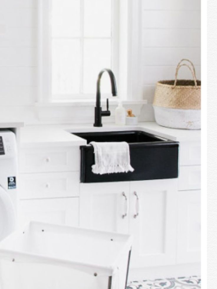 Black sink and faucet