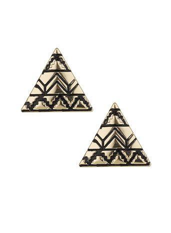 gold aztec earrings