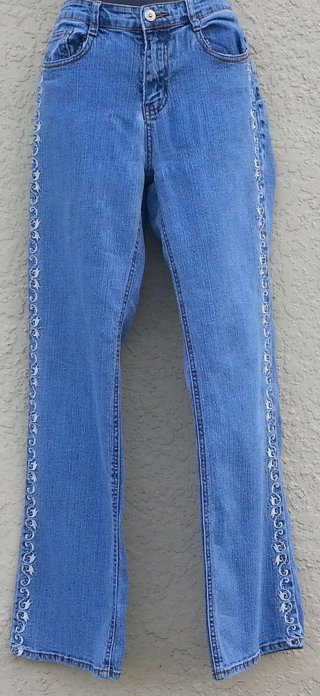 Cos Jeans Woman's Embroidered Floral Denim Jeans Sz 4 EUC  #COSJeans #Relaxed