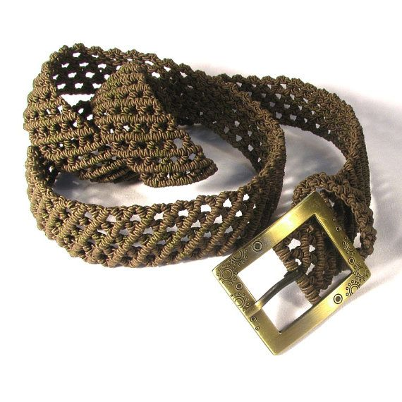 Macrame Belt Green Forest lace woman braided belt with by makrame, $83.00