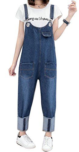 8ffc658c323 Fensajomon Womens Loose Bib Overalls Wide Leg Plus Size Jeans Denim Jumpsuit  Pants