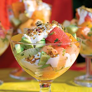 Google Image Result for http://img4-1.myrecipes.timeinc.net/i/recipes/sl/08/05/avacado-salad-sl-1731427-l.jpg: Fruitsalad, Sour Cream, Fruit Salad Recipes, Spring Summer, Avocado Fruit, Summer Salad, Shower Recipes, Spring Salad, Fresh Fruit