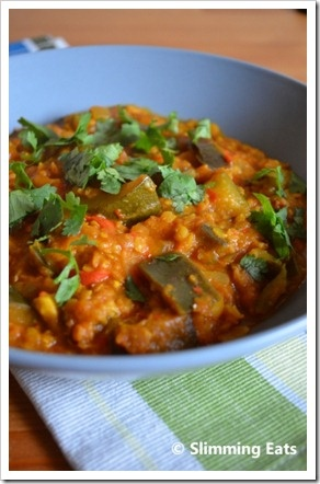 Aubergine, Courgette and Lentil Curry with coconut milk - must make!