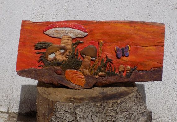 OOAK Handcarved, Natural wood, Relief Carving of a Mushroom natural scene