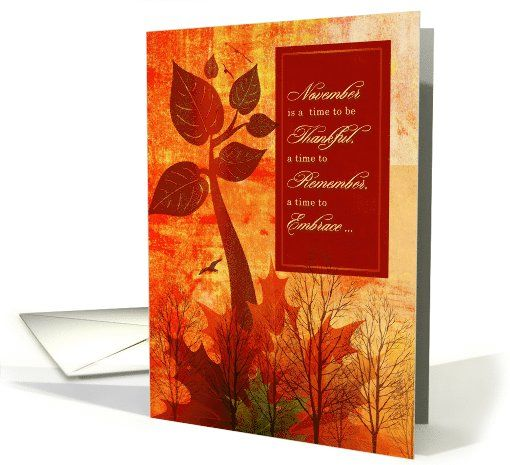 Thanksgiving Gratitude Autumn Foliage and Trees card (1119814) by Doreen Erhardt