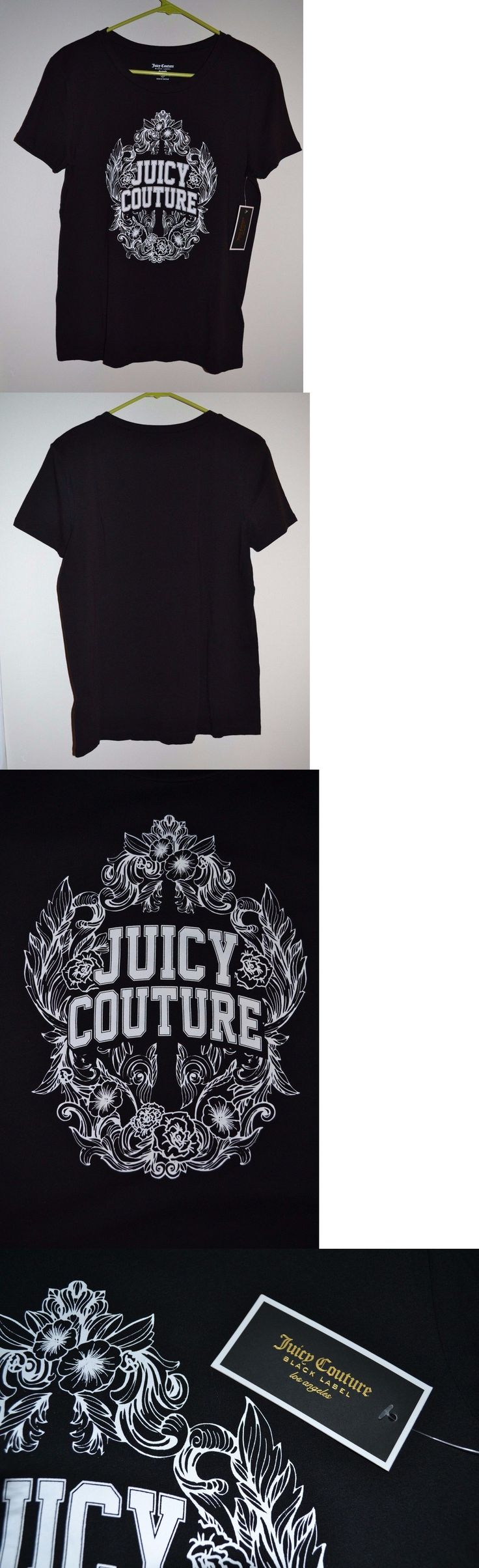 T-Shirts 63869: Nwt Women S Juicy Couture Relaxed Tee T Shirt Floral Frame Black Size Small -> BUY IT NOW ONLY: $44.5 on eBay!