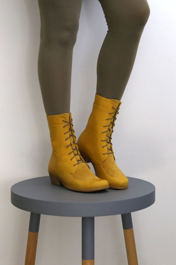 Yellow combat boots   mid calf leather boots   Oxford by ADIKILAV