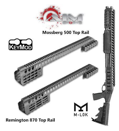Aim Sports brand new top rails were designed for two of the most popular shotgun platforms, Remington 870 and Mossberg 500.