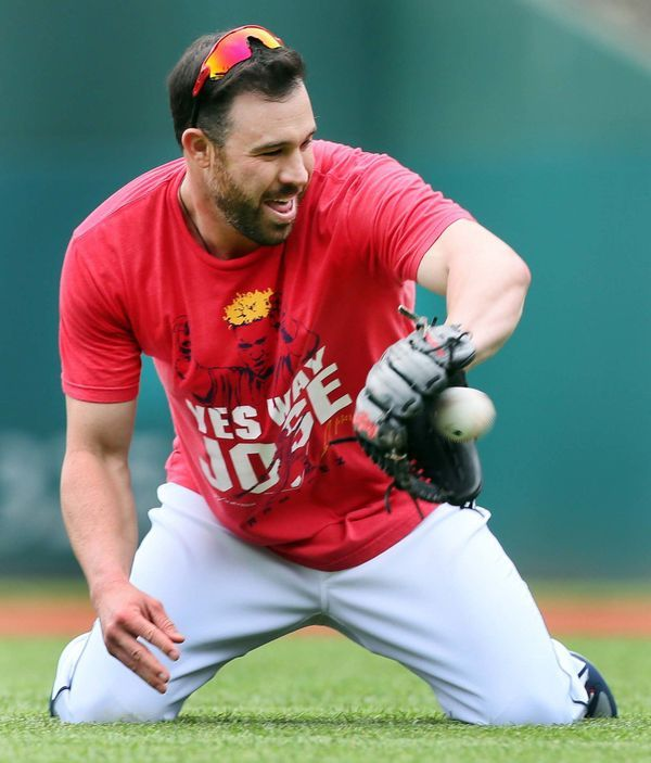 Cleveland Indians Jason Kipnis, working out taking grounders on the field before batting practice, before the game against the Cincinnati Reds at Progressive Field, Cleveland, Ohio, on July 4. 2017. Kipnis is recovering from a right hamstring injury. (Chuck Crow/The Plain Dealer).