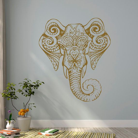 Gold Elephant Wall Decal Indian Elephant Vinyl by FabWallDecals