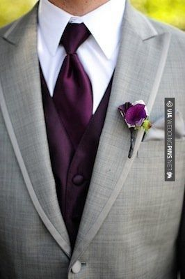 love the grey tux for the groom. eggplant vest and tie with eggplant boutonniere