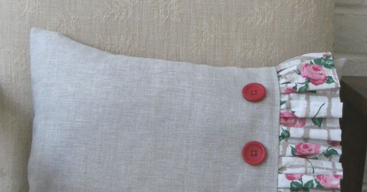 Make this lovely rectangular cushion cover, trimmed with a deep frill of contrasting fabric and three big buttons. It's a very easy ...