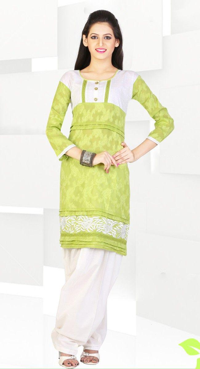 Beautiful Pear Green Color Cotton & Jacquard #Kurti