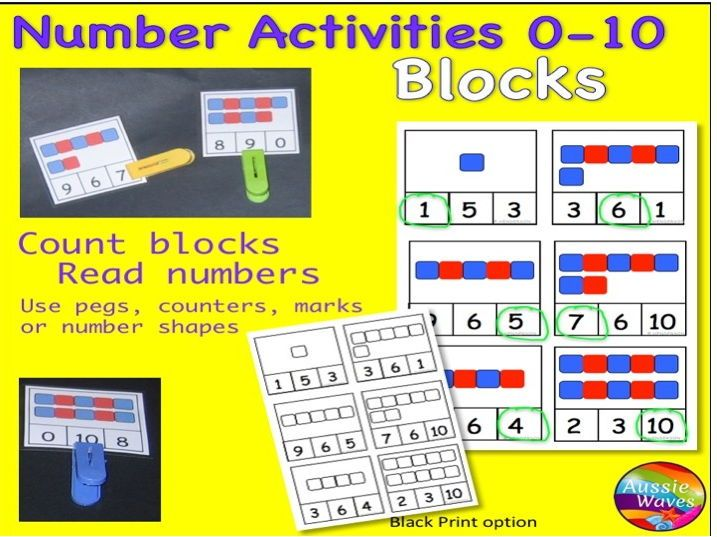 Early Maths Centre Activity COUNTING NUMBERS 0-10 using BLOCKS