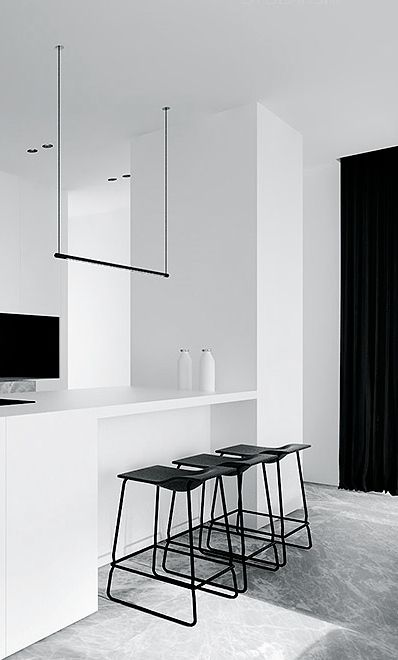white kitchen + black details