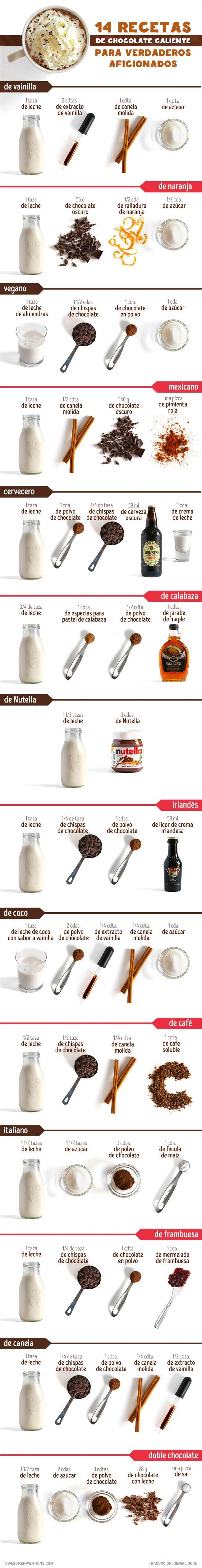14 Recetas de chocolate caliente para los verdaderos amantes de esta bebida