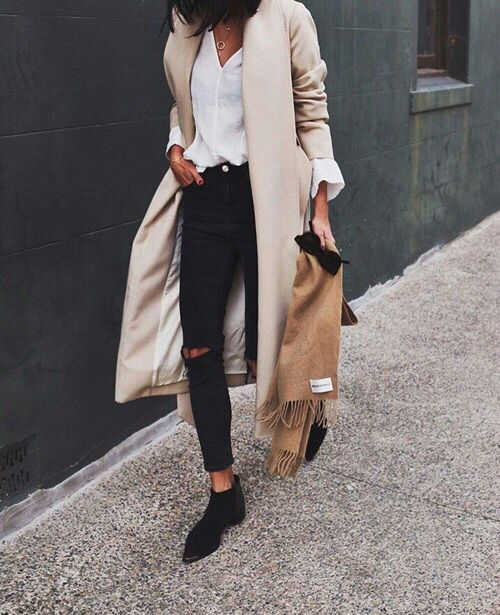 street style outfit, black beige, boots, ripped jeans, coat, blouse, scarf