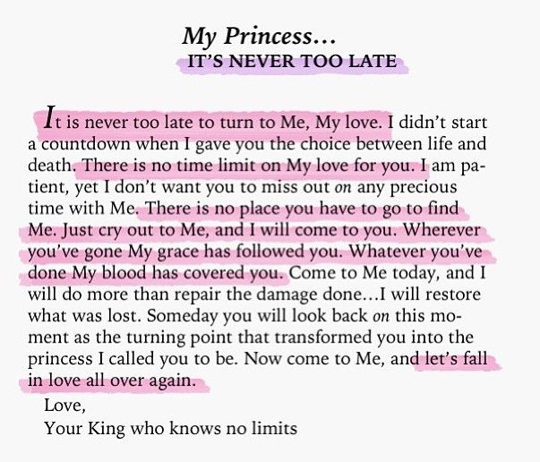 To My Princess... it's never too late