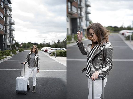 Get this look: http://lb.nu/look/8762501  More looks by Eleonora Pellini: http://lb.nu/pelletz  Items in this look:  Shopbop Metal Jacket, Primark White Jeans, Kipling Suitcase   #casual #minimal #street #eleonora #outfit #metal #jacket #onceupontime