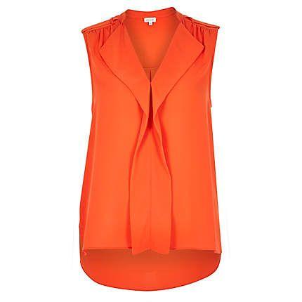 Orange waterfall frill sleeveless blouse £26.00