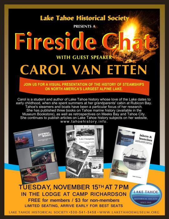 Fireside Chat with author Carol Van Etten at Camp Richardson image 2