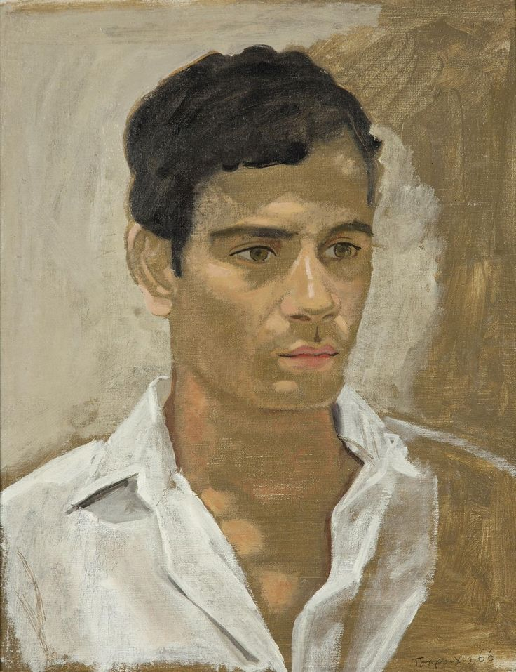 Yiannis Tsarouchis (Greek, 1910-1989), Portrait of a Youth, 1966. Oil on canvas laid on board, 45.5 x 35.5 cm.