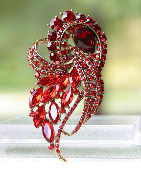 Gorgeous Ruby Red Brooch Pin. Red Broach Jewelry