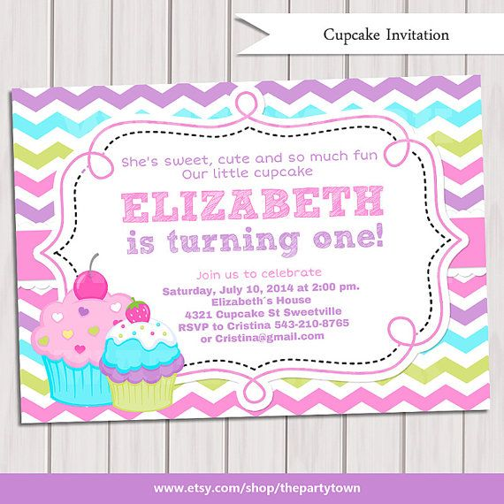 Cupcake Invitation, 1st Birthday Cupcake Invitation, Printable Sweet Cupcake Invitations, Cupcake Invite, Printable Birthday Invitation