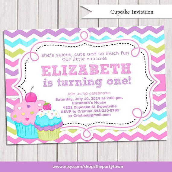 Cupcake Invitation 1st Birthday Cupcake Invitation by ThePartyTown, $10.00