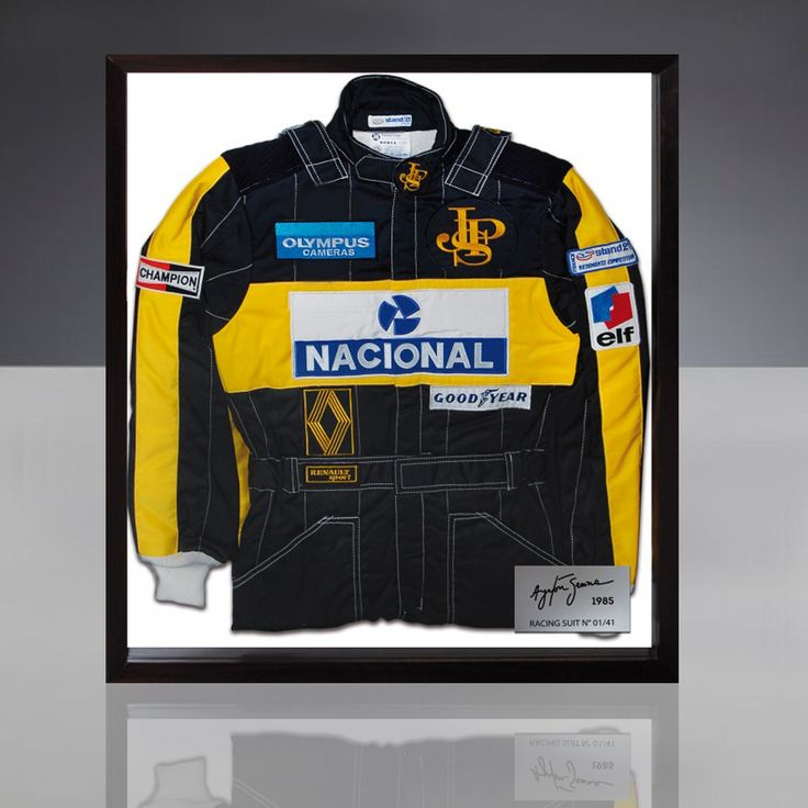 This racing suit in JPS-Lotus team colors is an exact replica of that worn by Ayrton Senna during his first Formula 1 win at the Portuguese Grand Prix, 21 April 1985.  Produced by Stand 21, under the watchful eye of Yves Morizot. (Morizot is the founding president of Stand 21, who personally looked after the development of the Brazilian champion's personal equipment in 1985).  Strictly limited edition to 41 copies (the number of Ayrton Senna's F1 wins)   Profes...